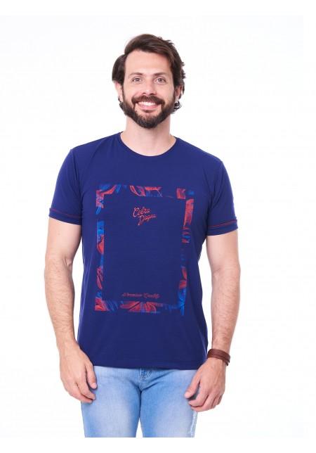 Camiseta Cobra D'agua Quadro Floral - Marinho