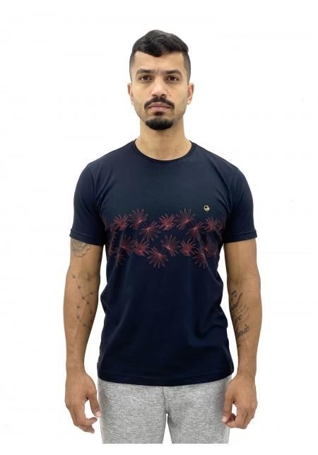 Camiseta Cobra D'agua Masculina Folharem Tropical - Preto