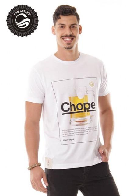 Camiseta Cobra D'agua Chope com Abridor - Branca