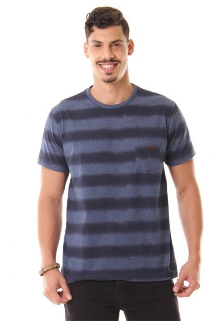 Camiseta Cobra D'agua Listrado com Bolso - Marinho
