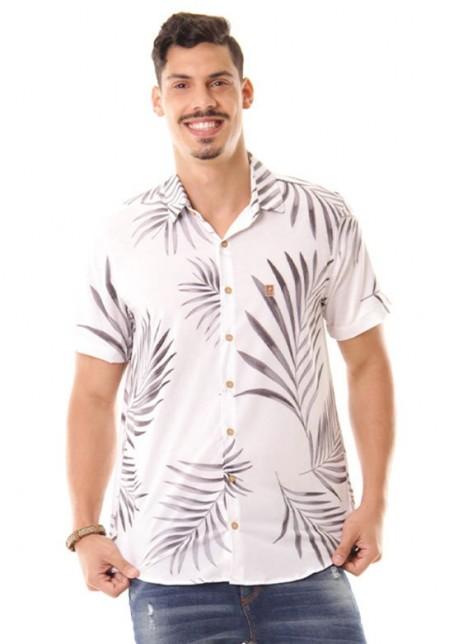 Camisa de Botão Cobra D'agua Férias - Branco