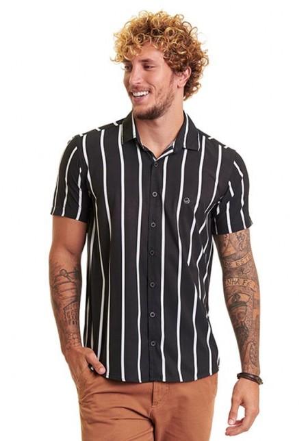 Camisa de Botão Cobra D'agua Linha Equador - Preto