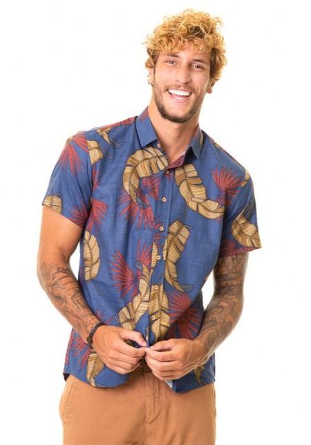 Camisa de Botão Cobra D'agua Tropical - Azul